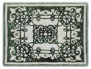 ムートンカーペット-古典柄・緑の写真-300