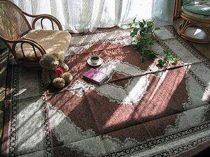 ペルシャ綿カーペット・タブリーズ柄・茶色の写真-300