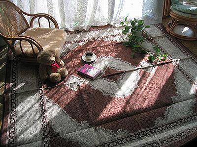 ペルシャ綿カーペット・タブリーズ柄・茶色の写真-400